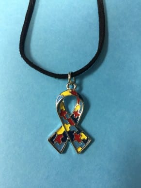 Autism Puzzle Ribbon Necklace