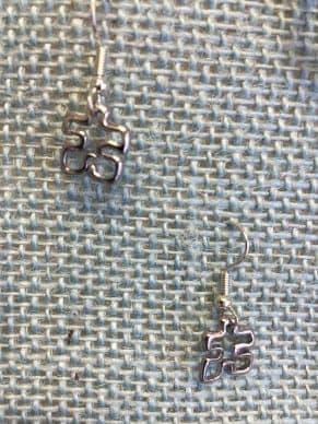Open Puzzle Piece Silver Earrings