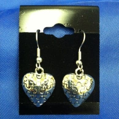 Puff Puzzle Piece Silver Earrings