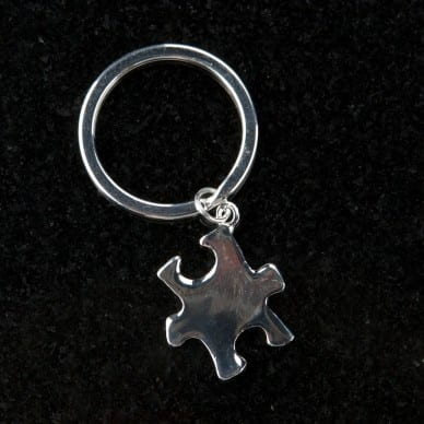 Silver Puzzle Piece Keychain